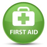 First aid special soft green round button. First aid isolated on special soft green round button abstract illustration Stock Images