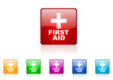 First aid square web glossy icon. Colorful set royalty free illustration