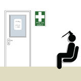 First aid station. And patient waiting for treatment Vector Illustration