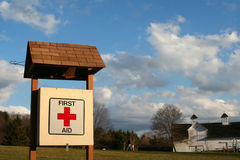 First Aid Station. View of 1st aid box at a park/playground in late afternoon sun Stock Photo