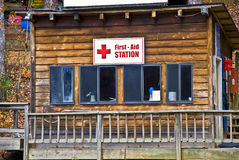 First Aid Station. A rustic building at a camp on Lake Burton used for first aid treatments Stock Photo