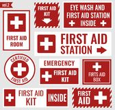 First aid stickers. First aid label and sign set, vector illustration Royalty Free Stock Photography