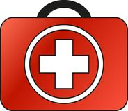 First Aid suitcase - Vector. A red suitcase with a white cross in a white circle - Vector Stock Photos