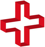 First aid symbol. 3d red first aid symbol outline - vector Stock Images