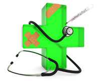 First aid symbol. Green cross with stethoscope, plaster and thermometer isolated on white background 3D rendering Stock Images