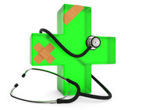 First aid symbol. Green cross with stethoscope and plaster  on white background 3D rendering Stock Images