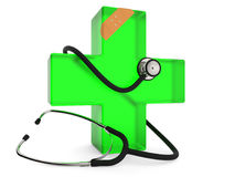 First aid symbol. Green cross with stethoscope and plaster  on white background 3D rendering Stock Photo