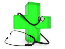 First aid symbol. Green cross with stethoscope  on white background 3D rendering Royalty Free Stock Photos