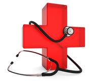 First aid symbol. Red cross with stethoscope isolated on white background 3D rendering Stock Images