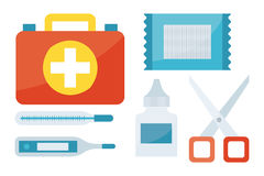 First aid symbols vector illustration. First aid kit isolated on white background. Medical symbols emergency sign cross first sterile bandages. Assistance Royalty Free Stock Photos