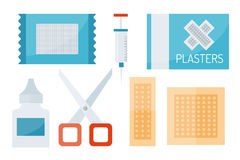 First aid symbols vector illustration. First aid kit isolated on white background. Medical symbols emergency sign cross first sterile bandages. Assistance Stock Photos