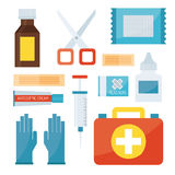 First aid symbols vector illustration. First aid kit isolated on white background. Medical symbols emergency sign cross first sterile bandages. Assistance Stock Photo
