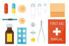 First aid symbols vector illustration. First aid kit  on white background. Medical symbols emergency sign cross first sterile bandages. Assistance clinical Stock Photo