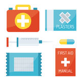 First aid symbols vector illustration. First aid kit  on white background. Medical symbols emergency sign cross first sterile bandages. Assistance clinical Royalty Free Stock Photos