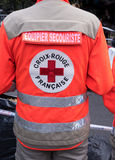 First aid team mate back Stock Photos