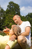 First aid to a retiree. First aid to a eldery woman Stock Images