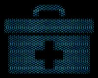 First Aid Toolbox Mosaic Icon of Halftone Bubbles. Halftone First aid toolbox mosaic icon of circle bubbles in blue color tinges on a black background. Vector Stock Images