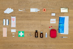 First Aid Tools On Wooden Table Royalty Free Stock Images