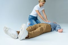 first aid training royalty free stock photo