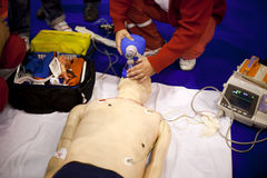 First aid. Training. Cardiopulmonary resuscitation (CPR). Artificial respiration Stock Photos