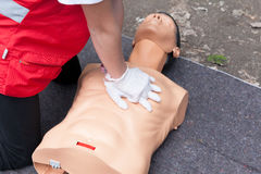 First aid training concept. CPR. Royalty Free Stock Photography