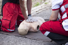 First aid. Training. CPR practice on a dummy royalty free stock images