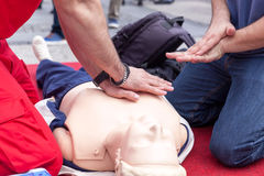 First aid training detail. CPR. Stock Photo