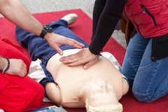 First aid training detail. CPR. Royalty Free Stock Photo