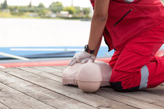 Drowning first aid. CPR. Stock Image