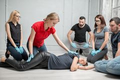 First aid training royalty free stock photos