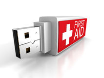 First Aid Usb Flash Drive On White Background Royalty Free Stock Photos