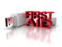 First aid usb flash drive on white background. 3d render illustration Royalty Free Stock Photos