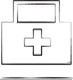 First aid. Vector sketch illustration of medical first aid case Royalty Free Stock Photo
