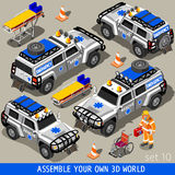 First Aid 02 Vehicle Isometric. Ambulance White Rescue SUV Vehicle. NEW bright palette 3D Flat Vector Icon Set. First Aid Equipment and Paramedic Man. Assemble Stock Photography