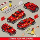 First Aid Vehicle Isometric. Fireman Flame Red Rescue SUV Vehicle. NEW bright palette 3D Flat Vector Icon Set. First Aid Equipment and Firefighter to Stop Arson Stock Photography