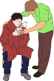 First aid - warm drink and blanket for injured man. Vector stock illustration