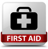 First aid white square button red ribbon in middle. First aid  on white square button with red ribbon in middle abstract illustration Stock Images