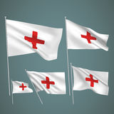 First aid - white vector flags. A set of wavy 3D flags created using gradient meshes. EPS 8 vector Stock Image