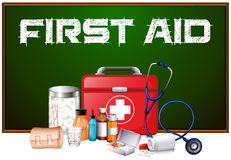 First aid word on board and different equipment in kit. Illustration Stock Image