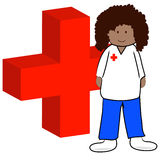 First aid worker. Ethnic first aid worker with symbol - vector Royalty Free Stock Photos