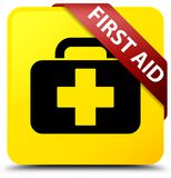 First aid yellow square button red ribbon in corner. First aid isolated on yellow square button with red ribbon in corner abstract illustration Royalty Free Stock Photos