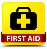 First aid yellow square button red ribbon in middle. First aid isolated on yellow square button with red ribbon in middle abstract illustration Royalty Free Stock Images