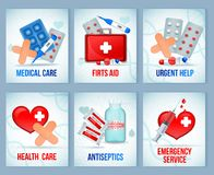 First Aids Kit Cards. First aid kit supply equipment compositions for emergency medical treatment 6 realistic cards set isolated vector illustration Royalty Free Stock Photos