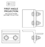 First Angle Orthographic Projection. Example of first angle orthographic projection drawing using rolled steel angle assembly Royalty Free Stock Photography