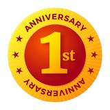 First Anniversary badge, gold celebration label. Vector illustration Royalty Free Stock Photo