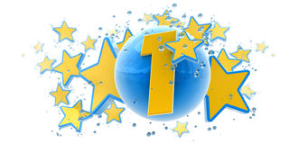 First anniversary blue and yellow. Background in blue and yellow colors with stars drops and spheres and the number one Stock Photos