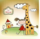 First anniversary card. With cute girl and giraffe Royalty Free Stock Photos