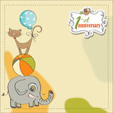 First anniversary card with animals. First anniversary card with pyramid of animals Royalty Free Stock Photography