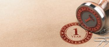 First Anniversary Horizontal Background, One Year Celebration Card royalty free stock images