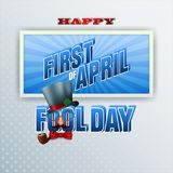 First of April, celebration of Fool day. Design, background with 3d texts, eyeglasses, top hat, smoking pipe and funny face for First April, Fool day event royalty free illustration